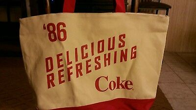 """Coca Cola """"Have a Coke and a Smile"""" Extra Large Canvas Tote PLUS Wrist-let NWT"""