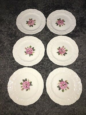 """6 POPE-GOSSER China """"Rose Point"""" USA Bread Plates 6.25"""""""