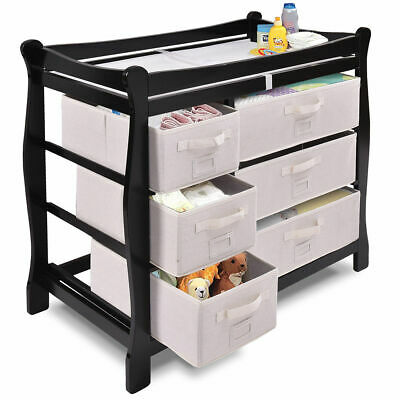 Black Sleigh Style Baby Changing Table Diaper 6 Basket Drawer Storage Nursery