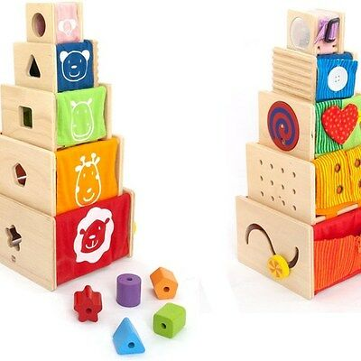 NEW!! Baby Kids 5 Wooden Stacking Blocks Activity Stacker by I'm Toy