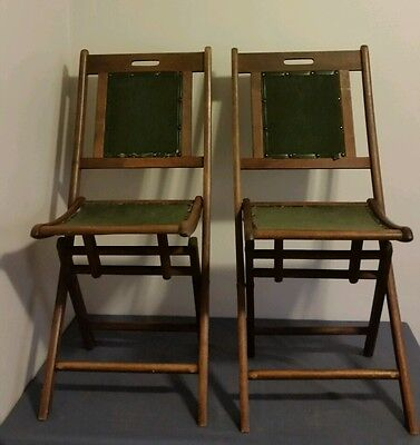 Set of 2 Wood Folding Chairs Vintage Church Chairs