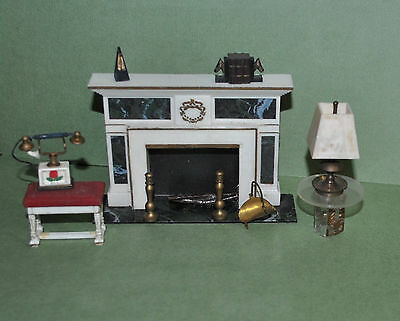 Vintage Ideal Petite Princess Dollhouse Fireplace Table Bench & Accessories