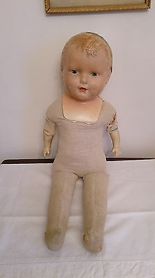 "OLD ANTIQUE 26"" Composition Baby Doll Cloth Body to Dress or Parts Repair"