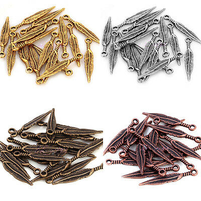 Charming 20 PCS Tibetan Silver Long Feather Leaf  Pendant  Beads Jewelry Finding