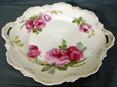 Antique Hand Painted Porcelain Roses Serving Tray Unmarked