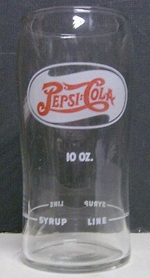 1930's Pepsi-Cola Double Dot Soda Fountain Glass With Syrup Line