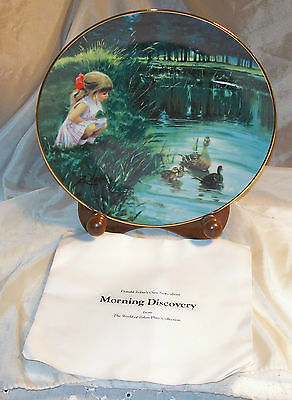 Zolan ~ Collector Plate ~ 1992 ~ Morning Discovery ~ Girl Feeding Ducks