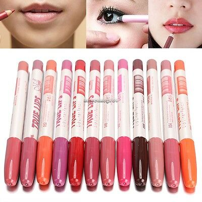 2017 NEW 12 Colors Pro Waterproof Lipliner Makeup Lip Liner Wood Pen Pencil US