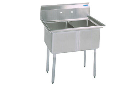 "BK Resources Two Compartment Stainless Sink w/ 16"" x 20"" x 12""D Bowls"