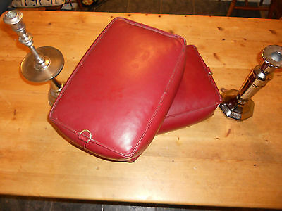 Vintage Church Kneeler Leather Prayer Cushions in Burgundy Red