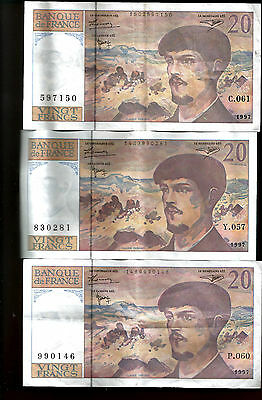 Lot 3 Billets 20 Francs Debussy 1997