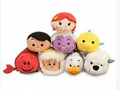 8 Styles New Disney TSUM TSUMThe Little Mermaid Mini Soft Plush Toys With Chain
