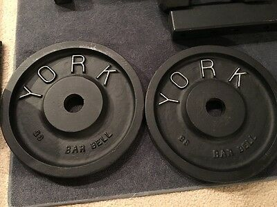 Pair of Vintage York Barbell 35lbs Olympic Milled Weight Plates