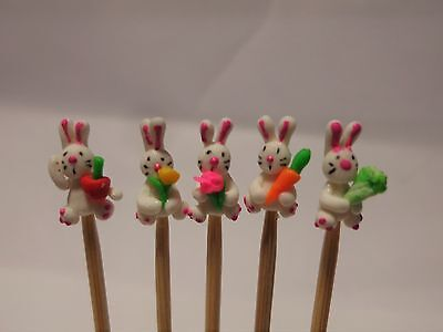 Hand Made Polymer Rabbits (5) On A Stick Dolls House Miniature Nursery Toy