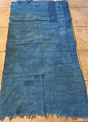 "Vintage African,Dogon, Mali Indigo Dyed Fabric/Hand Woven Cotton Strips/40""x57"""