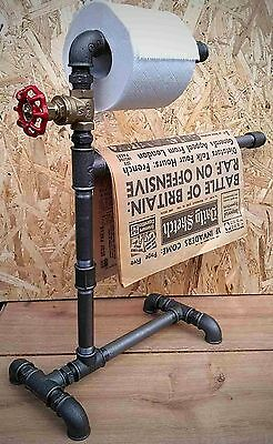 Industrial Steampunk Vintage Toilet Roll / Newspaper Holder Freestanding UK Made
