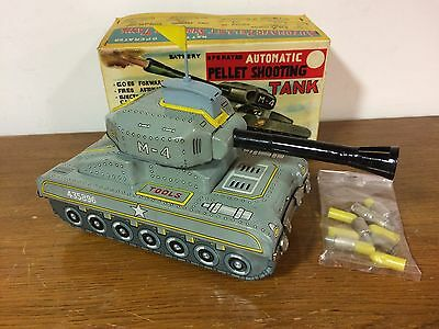Vintage Linemar Battery Operated Automatic Pellet Shooting Tank Tin Toy Japan