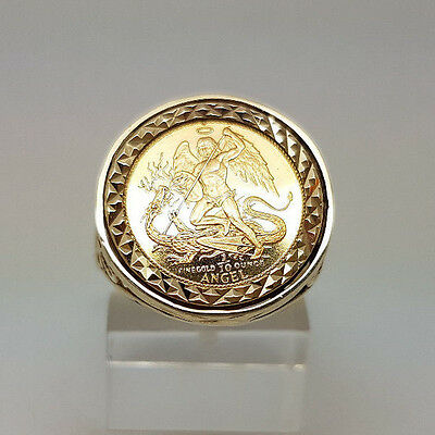Fabulous 1/10 Fine Gold Angel coin In 9ct Gold Ring Mount.  Goldmine Jewellers.