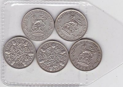 1925/1926/1927/1931 & 1933 Sixpences In Near Very Fine Or Better Condition