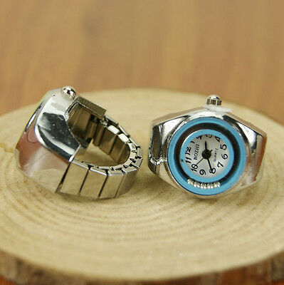 1x Crystal Ring Multi-color Stretchy Quartz Finger Watches Lovely Women Girls