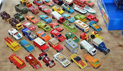 Two storage boxes with 48 matchbox superfast cars,etc. - all from 70`.