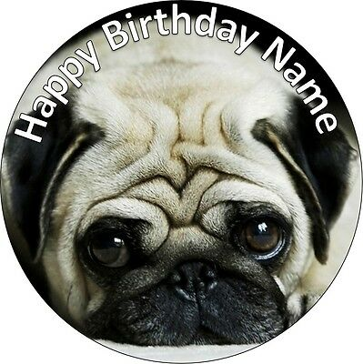 EDIBLE Pug dog Cake Topper Birthday Party Wafer Paper 19cm (uncut)