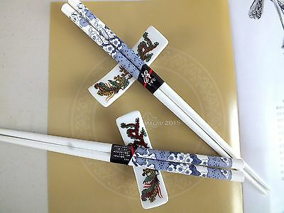 2 Japanese Blue Blossom White Chopsticks 2 Ceramic Stand Chinese New Year Party