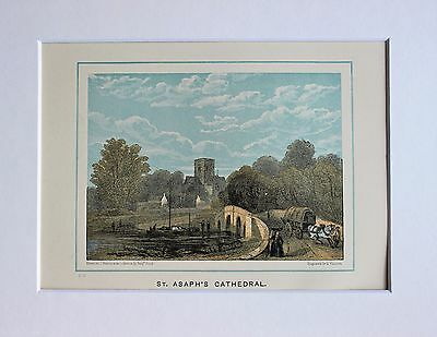 St Asaph's Cathedral, Wales, - Antique Colour Print Engraving Lithograph