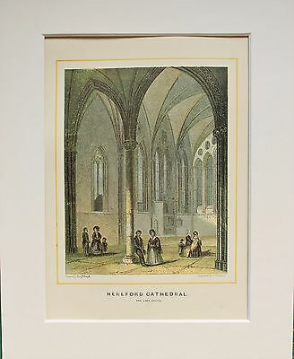 Hereford Cathedral Lady Chapel - Antique Colour Print Engraving Lithograph