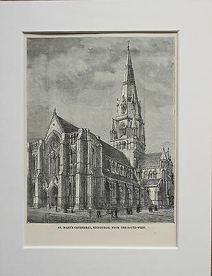 St Mary's Cathedral, Edinburgh - Antique B/W Print Engraving Lithograph