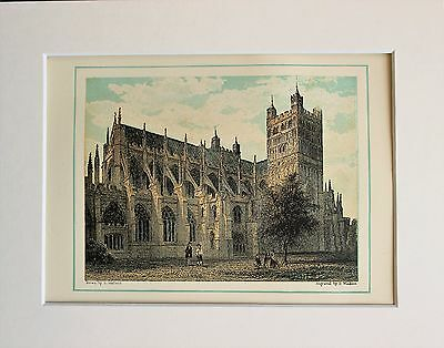 Exeter Cathedral North East - Antique Colour Print Engraving Lithograph