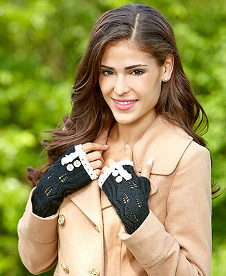 Button & Lace Trim Fingerless Gloves Black Hand Warmers One Size Acrylic Gift