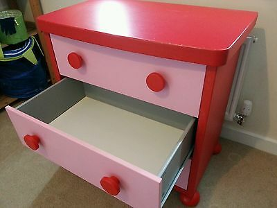 Pink Red Girls Ikea MAMMUT 3 drawer chest IKEA Chest of Drawers Draws Large Draw