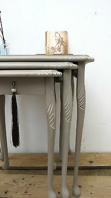 Vintage Side End Tables Nest of Three Hand Painted Grey GlassTopped