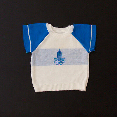 Vintage knitted baby top logo of the 1980 olympic games in Moscow 3-6 months
