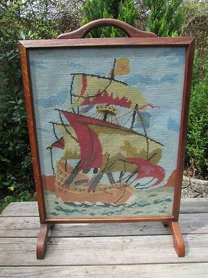 Vintage / Antique Oak Framed Fire Screen With Hand Embroiderd Gallion Panel