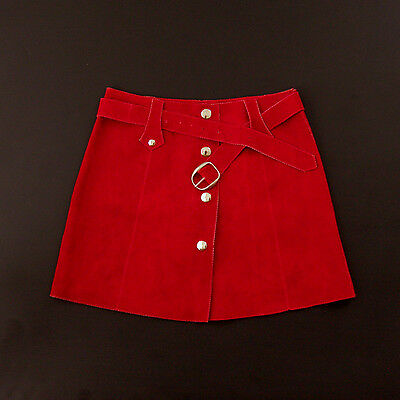 Vintage red suede 70's a-line skirt with belt 6/7 -NEW OLD STOCK