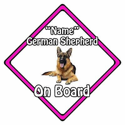 Personalised Dog On Board Car Safety Sign – German Shepherd On Board Pink