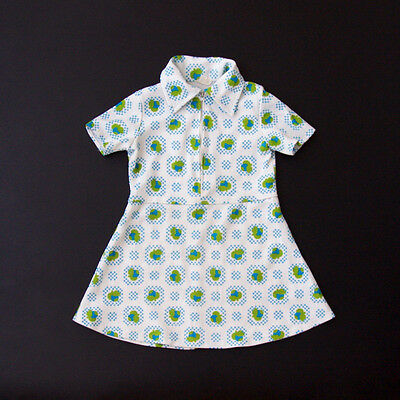 Graphic white 70's sporty toddler dress with zipper in the front age 2