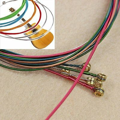 1M Rainbow Colorful Color One Set 6pcs Acoustic Guitar Strings Guitar Strings