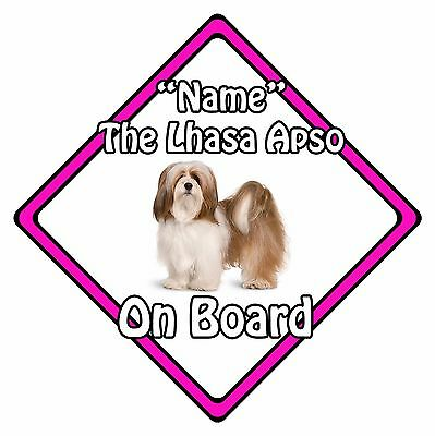 Personalised Dog On Board Car Safety Sign – Lhasa Apso On Board Pink