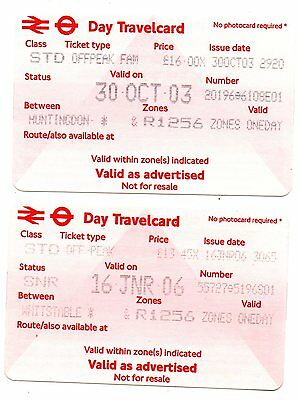 Railway Tickets.  One Day Travel Cards From Huntingdon And Whitstable