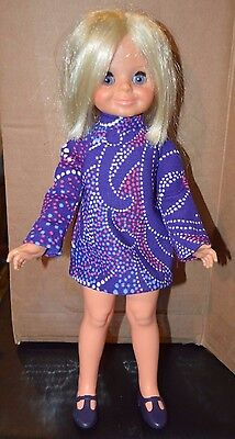 Vintage Ideal Velvet Doll and Purple T Strap Shoes from Crissy Family. 50's