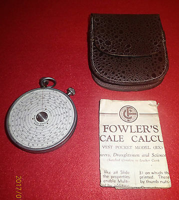 Fowler's long scale Calculator. Vest pocket model. Instructions and case.