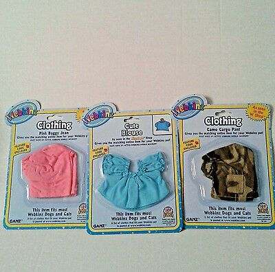 Webkinz Dog Cat Clothing Lot of 3 Cute Blouse, Camo Cargo Pant, Pink baggy Jeans