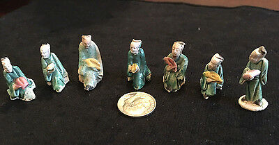 "Lot of 7Antique Miniature  Chinese Mud Clay Figurines 1/2"" - 1"" tall"