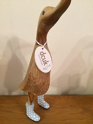 DCUK Wooden Duck Ornament Called Paul with Sky Blue & White Spotty Wellies