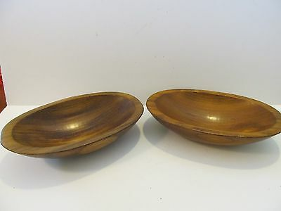 2 Vtg ADIRONDACK Oval Wood Bowl Serving Salad Wooden USA Mid Century 7 3/4""
