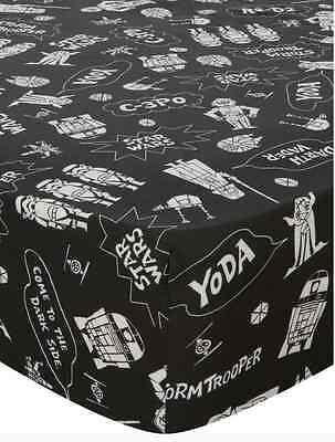Disney Star Wars Black & White Single Fitted Sheet Boys Kids Childrens Bedroom