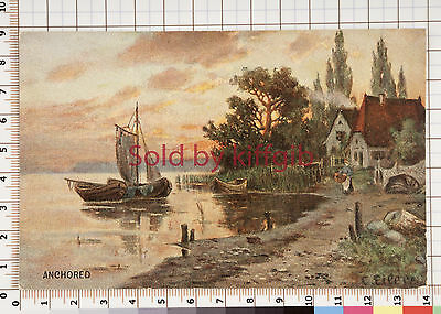 Anchored unknown location artist signed vintage postcard